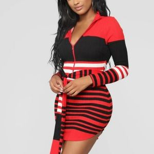 NWT Fashion Nova Red & Black knit Dress